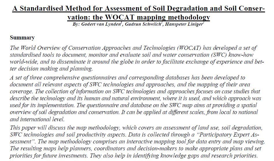 a standardised method for assessment of soil degradation and soil conservation.PNG
